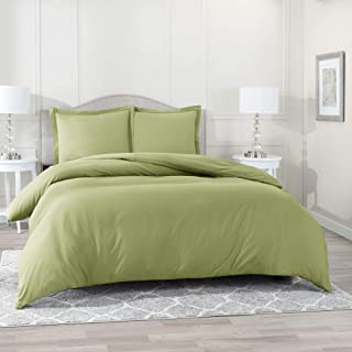 Nestl Bedding Duvet Cover 3 Piece Set – Ultra Soft Double Brushed Microfiber Hotel Collection – Comforter Cover with Button Closure and 2 Pillow Shams, Sage - King 90