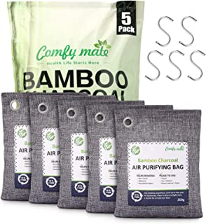 5 Pack Bamboo Charcoal Air Purifying Bags with Hooks,Charcoal Bags Odor Absorber for Home,Odor Eliminator,Closet Deodorize...