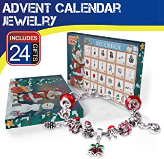 Christmas Advent Calendar 2018 Charm Bracelet 24 Days Countdown Calendars Jewelry Set for Kids/Childs New Year Gift - 1 Bracelet, 1 Necklace, 2 Pair Earrings, 20 DIY Charms