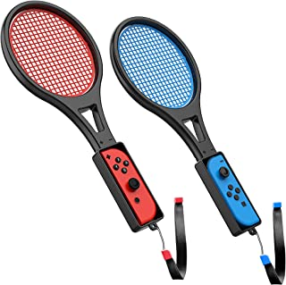 Tennis Racket for Nintendo Switch (2 Pack) by TalkWorks | Joy Con Controller Grip Sports Game Accessories for Mario Tennis...