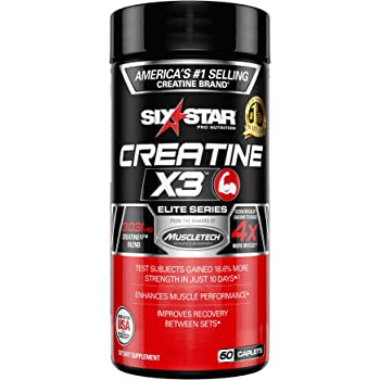 Creatine Pills - Mass Gainer | Six Star Elite | Creatine X3 Post Workout Recovery Pills | Creatine Monohydrate Blend | Muscle Recovery + Muscle Builder for Men & Women (60 Capsules)