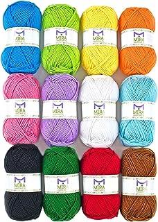 Mira Handcrafts Acrylic 1.76 Ounce(50g) Each Large Yarn Skeins - 12 Multicolor Knitting and Crochet Yarn Bulk - Starter Ki...
