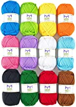 Mira Handcrafts Acrylic 1.76 Ounce(50g) Each Large Yarn Skeins - 12 Multicolor Knitting and Crochet Yarn Bulk - Starter Kit for Colorful Craft - 7 Ebooks with Yarn Patterns
