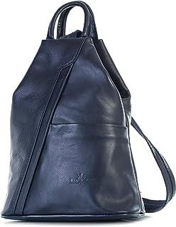 Big Handbag Shop Damen Weiches Echtleder Cabrio Gurt Rucksack Tasche – Made in Italien mit eine schützende Aufbewahrungstasche und Charme