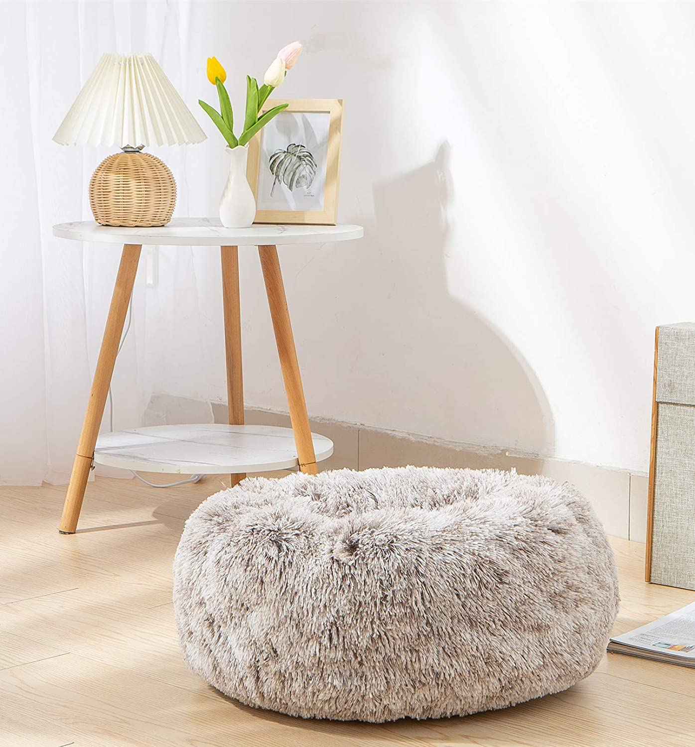 TORMAYS Pet Beds Donut Round Cushion Dog Bed Marshmellow Faux Fur Cuddler Calming Fluffy Comfy Furry Cat Bed