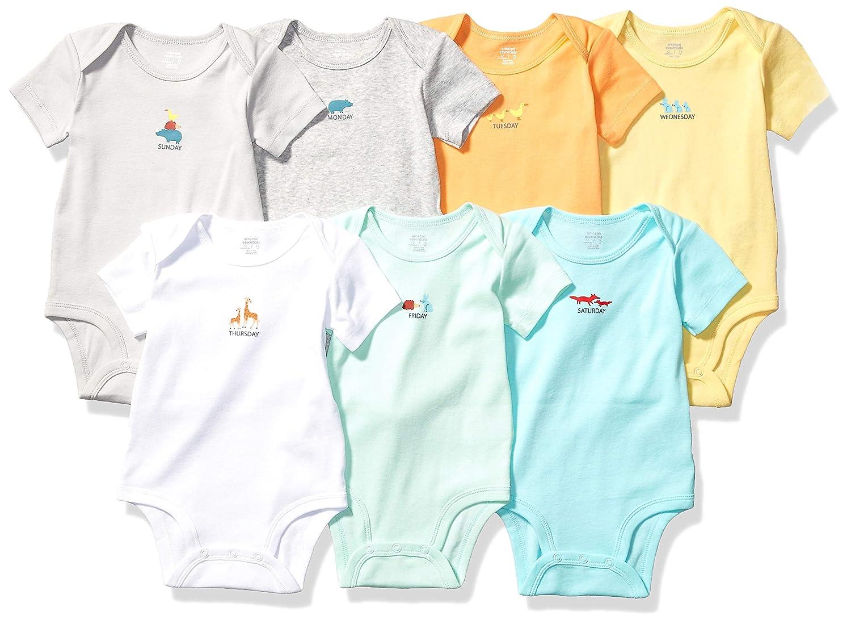 M/&S Set of 7 Sleeveless Bodysuits Boy or Girl TINY BABY 48cm White BNWT