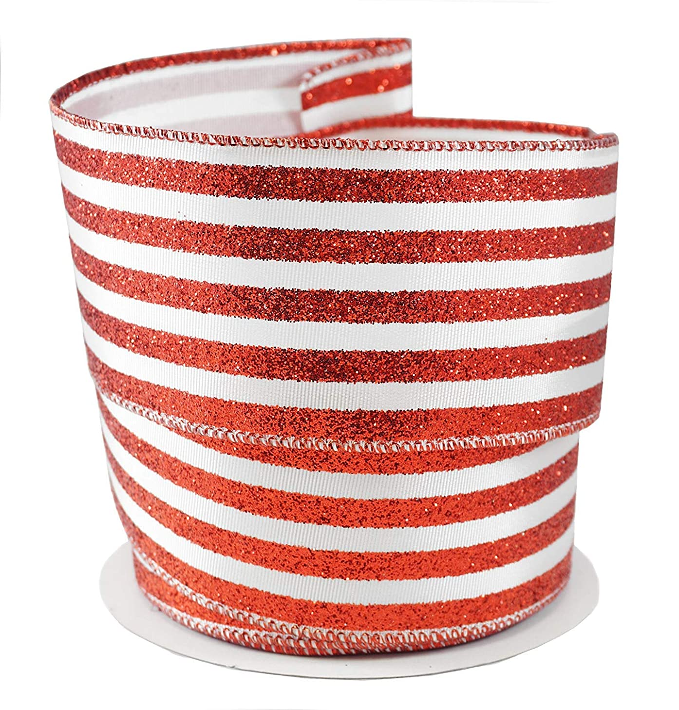 Peppermint Stripes Holiday Fabric Ribbon #40-2.5
