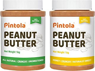 Pintola All Natural Peanut Butter (Crunchy) (1 kg) (Unsweetened, Non-GMO, Gluten Free, Vegan) + Pintola All Natural Honey ...