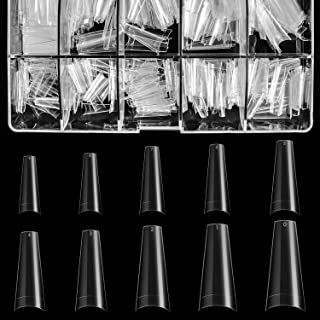 Clear Acrylic Nail Tips - Coffin Nail Tips BTArtbox 500pcs Artificial Ballerina shaped Fake Nails Half Cover False Nail with Case for Nail Salons and DIY Nail Art, 10 Sizes