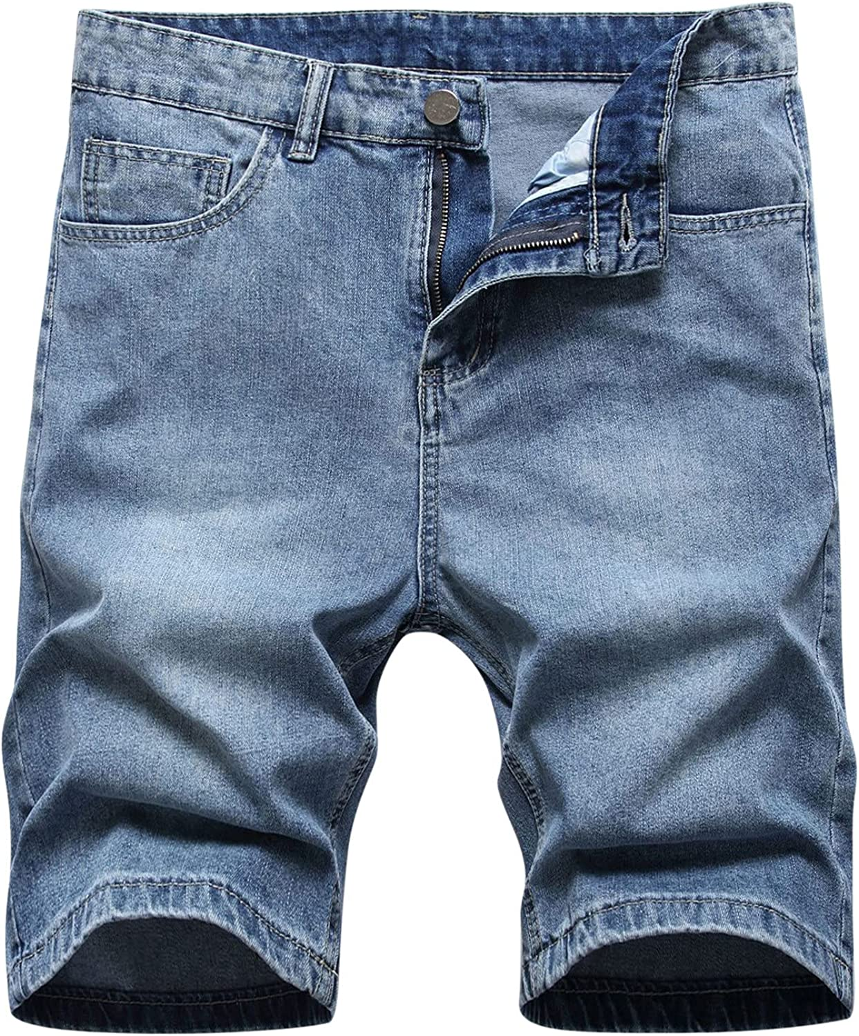 Men's Classic Relaxed Fit Short,Denim Five-Point Pants Overalls Stretch Cargo Shorts with Pocket