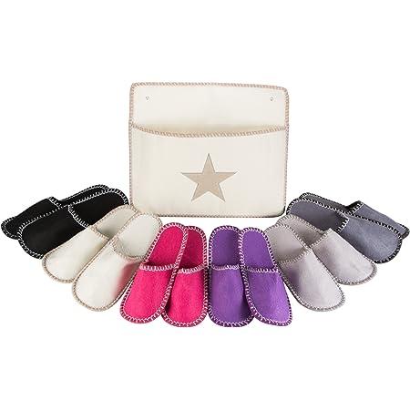 Levivo Set di pantofole per gli ospiti da 13 pezzi: 6 paia in feltro in 3 diverse misure con sacca chic per conservarle, ciabatte in feltro da uomo/donna, pattine di qualità