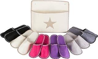 Levivo Set de chaussons pour invités, 13 pièces: 6 paires de pantoufles de 3 tailles différentes + sac de rangement assor...
