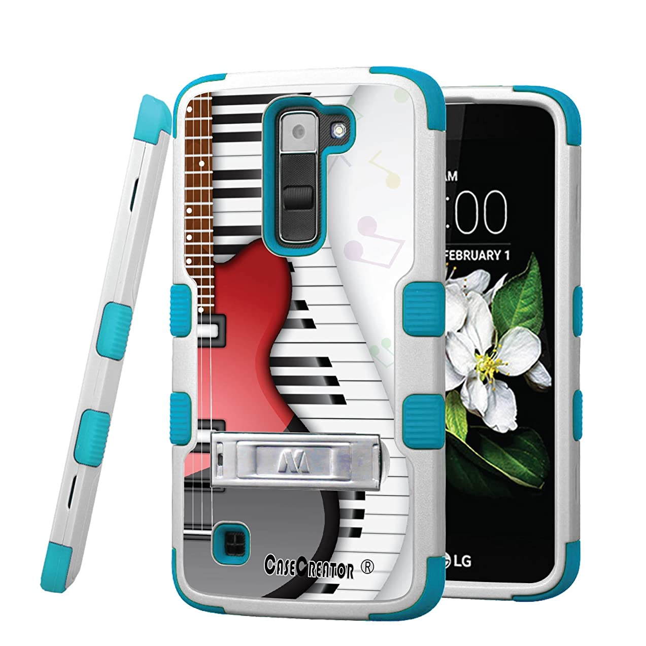 LG K7 Case, CASECREATOR[TM] For LG K7 / LG Tribute 5 (Sprint, MetroPCS, Boost Mobile)~TUFF Hybrid Stand Rubber Hard Case Teal Blue White-Guitar with Piano