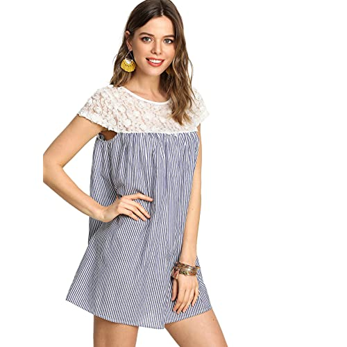 bf403865a15c SheIn Women's Casual Lace Patchwork Cap Sleeve Striped Swing Dress