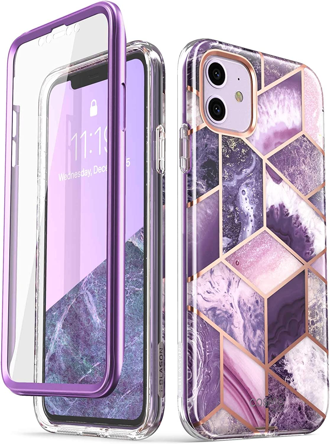 i-Blason Cosmo Series Case for iPhone 11 (2019 Release), Slim Full-Body Stylish Protective Case with Built-in Screen Protector, Purple, 6.1''