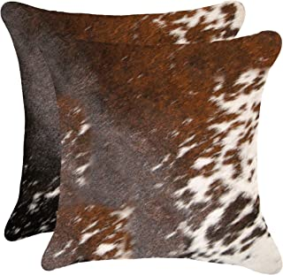Best Set of 2, Natural Torino Kobe Handcrafted Soft Touch Natural Cowhide Pillow with Polyfil Insert and Zipper Closure, S&P Brown & White, 18 in x 18 in Review