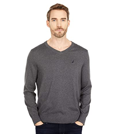 Nautica Navtech V-Neck Sweater (Charcoal Heather) Men