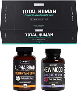 ONNIT Total Human + Alpha Brain 90ct + New Mood 60ct Stack