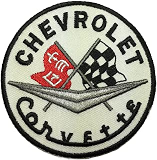 Corvette Racing Checker Flags Sports Cars Embroidered Iron on Sew on 3 inch Patch