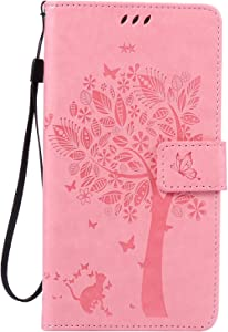BONROY Case Huawei Mate Flip Leather Case  Shockproof Bumper Cover and Premium Wallet Case for Huawei Mate 8-Pink
