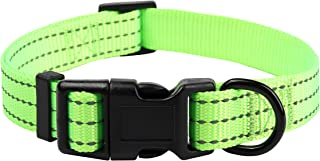 Mile High Life Dog Collar | Nylon with Reflective Three 3M Straps | Lime Green Hot Blue Pink Purple Red