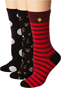 Kate Spade New York - 3-Pack In Bloom Floral Crew Socks
