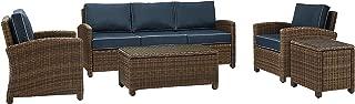 Crosley Furniture Bradenton 5-Piece Outdoor Wicker Sofa Conversation Set with Cushions - Navy