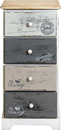 Superieur Rebecca Mobili Chiffonnier 4 Tiroirs, Commode Vintage, Pour Chambre Salle  De Bain, Bois