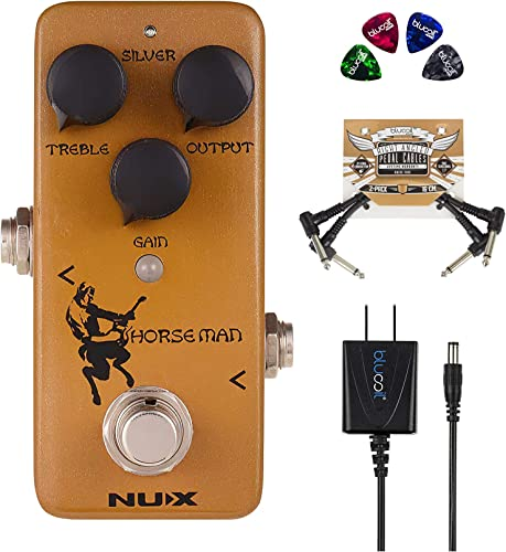 wholesale NUX Horseman Overdrive Guitar Effect Pedal with Gold and Silver Modes Bundle with Blucoil Slim 9V Power Supply AC Adapter, 2-Pack of Pedal outlet sale Patch discount Cables, and 4-Pack of Celluloid Guitar Picks outlet sale