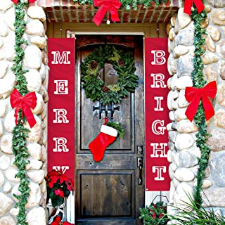 ATool Merry Bright Christmas Banner, New Year Decorations Outdoor Indoor   Merry Bright Porch Sign   Red Xmas Decoration Banners for Home Wall Door Apartment Party