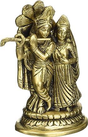 Gangesindia Goddess Meenakshi Brass Lamp Miniature Statue 4.45 cm, 13.34 cm,4.45 cm