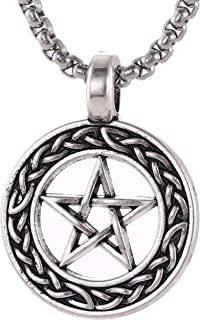 EUEAVAN Stainless Steel Braided Pentacle Necklaces Fashion Punk Hiphop Jewelry Chain Pendant for Men Teens Friendship