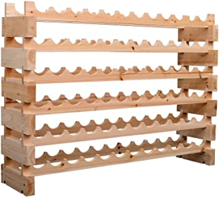 HOMCOM 72 Bottle Stackable Modular Wine Rack Storage Stand Display Shelves, Wobble-Free,6-Tier