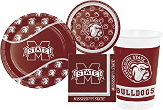 Mississippi State University Bulldogs Party Supply Pack! Bundle Includes Plates, Napkins, Cups for 8 Guests