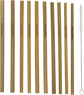 Panda Shoots Bamboo Straws Reusable Set of 10 8 Inch Straws Cleaning Brush Disposable Organic Biodegradable Nature Crafted Natural Eco Friendly Dishwasher Safe Healthy Drinking Straws for Kids Adults