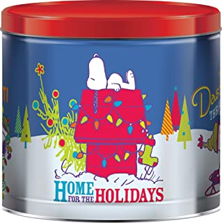 Giftpop Snoopy's Home for the Holidays Merry Christmas Popcorn Tin with 3 Assorted Flavors Caramel, White Cheddar Cheese a...