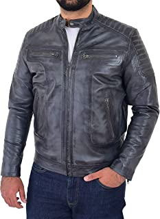 Mens Leather Biker Style Jacket Casual Cafe Racer Style Eddie Grey Two Tone
