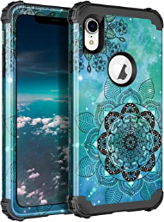 LONTECT Compatible iPhone Xr 2018 Case Floral 3 in 1 Heavy Duty Hybrid Sturdy Armor High Impact Shockproof Protective Cover Case for Apple iPhone Xr 6.1 Display (Mandala in Galaxy/Black)