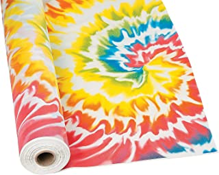 Fun Express - Tie Dye Tablecloth Roll (100 ft) - Party Supplies and Table Covers
