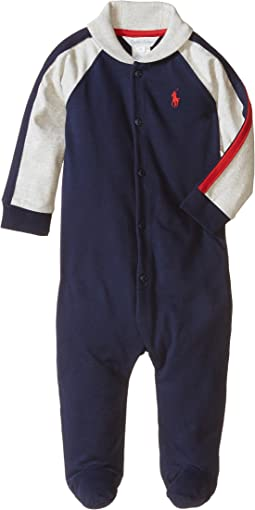 Ralph Lauren Baby Rugby Jersey Shawl Collar Coverall (Infant)