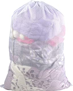 Polecasa Commercial Heavy Duty Lead Free Diamond Shape Mesh Laundry Bag-24 x 36 inches-Sturdy Large Drawstring Bag. Ideal Machine Washable Durable White Laundry Bag for College, Dorm, Apartment