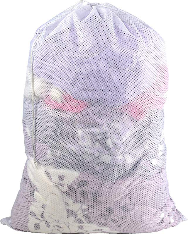 Polecasa Commercial Lead Free Mesh Laundry Bag 24 X 36 Inches Sturdy Large Heavy Duty Drawstring Bag Durable White Mesh Material Ideal Machine Washable Laundry Bag For College Dorm Apartment