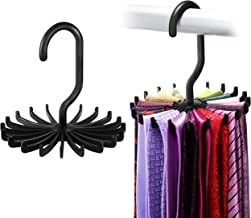 IPOW 360 Degree Rotating Adjustable Tie Racks (4.4-inch, Black) -Set of 2