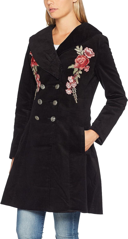 Joe Browns Women's Long Black Velvet Trench Coat
