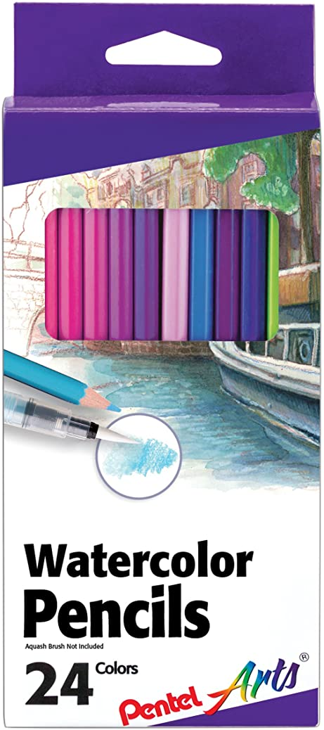 PENTEL Arts Watercolor Pencils 24/ Package, Assorted (CB9-24) osjlrawkft