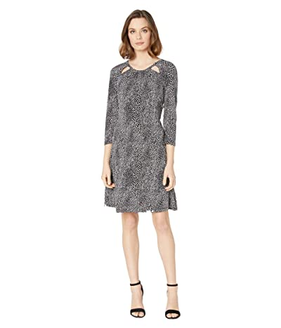 MICHAEL Michael Kors Snakestripe 3/4 Sleeve Dress (White) Women