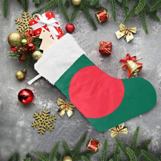super3Dprinted Bangladesh Flag Christmas Stocking, 2Pcs 18 inches Socks for Xmas Home Decor, Stuffed Christmas Tree Hanging Toys, Candy Gift Bag Holders