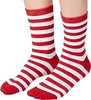 dressforfun, dressforfun 900858 Calcetines de Navidad, Unisex Adulto, Rayas Blancas & Rojas, Estilo Navideño -Disponible en Varios Tamaños (43-46 | No. 303513)