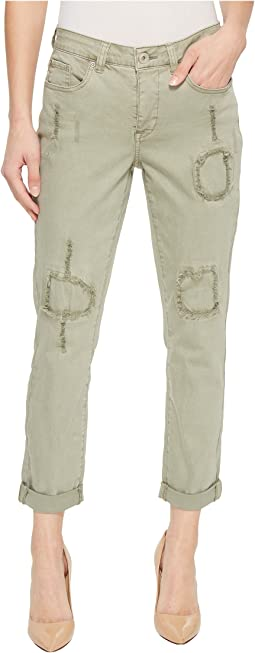 "25"" Stretch Twill Five-Pocket Boyfriend Pants in Aloe"