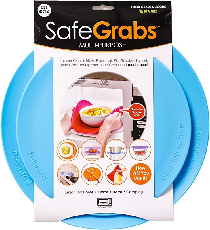 Safe Grabs Multi Purpose Silicone Original Microwave Mat From Shark Tank Splatter Guard Trivet Hot Pad Pot Holder Kitchen Tool BPA Free Heat Resistant Dishwasher Safe Ocean Blue